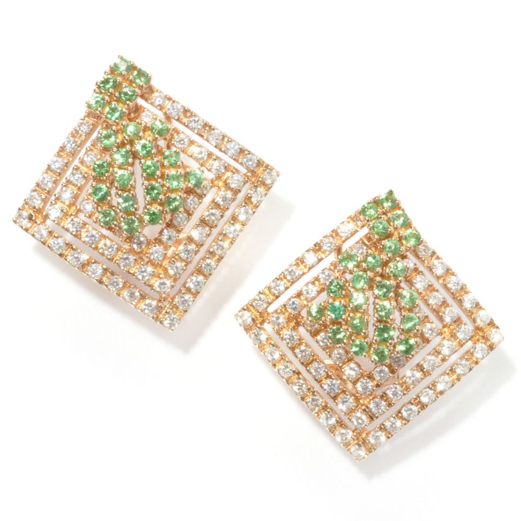 "134-268 - Sonia Bitton 1"" Simulated Diamond & Genuine Gemstone Diamond Shaped Cluster Earrings"