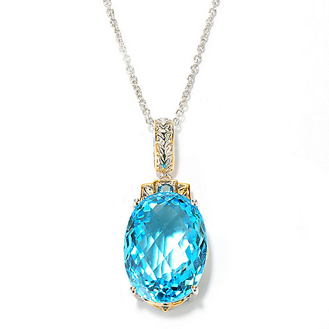 134-280 - Gems en Vogue 30.06ctw Oval Swiss Blue Topaz & London Blue Topaz Pendant w/ Chain