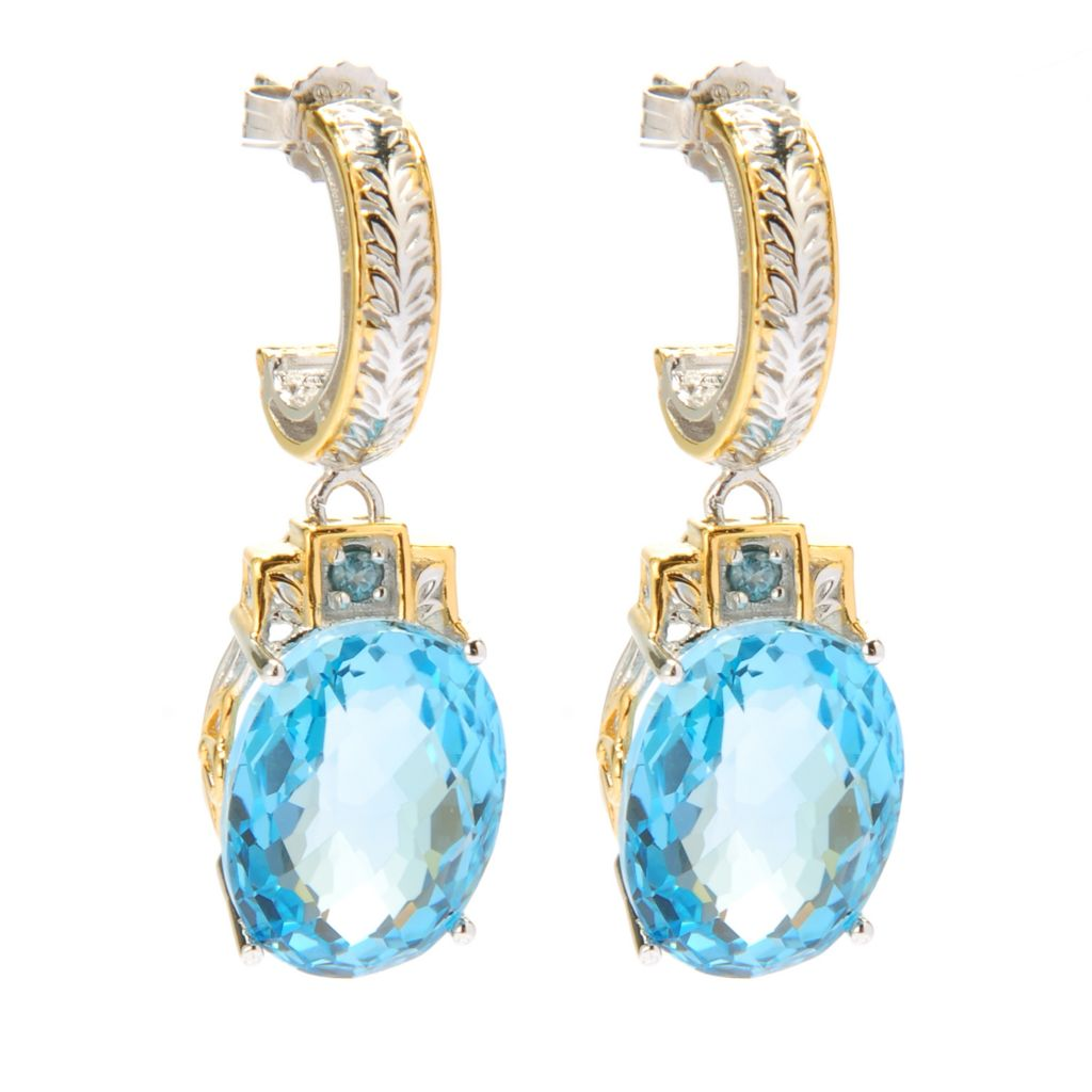 134-281 - Gems en Vogue II 24.08ctw Oval Swiss Blue Topaz & London Blue Topaz Drop Earrings