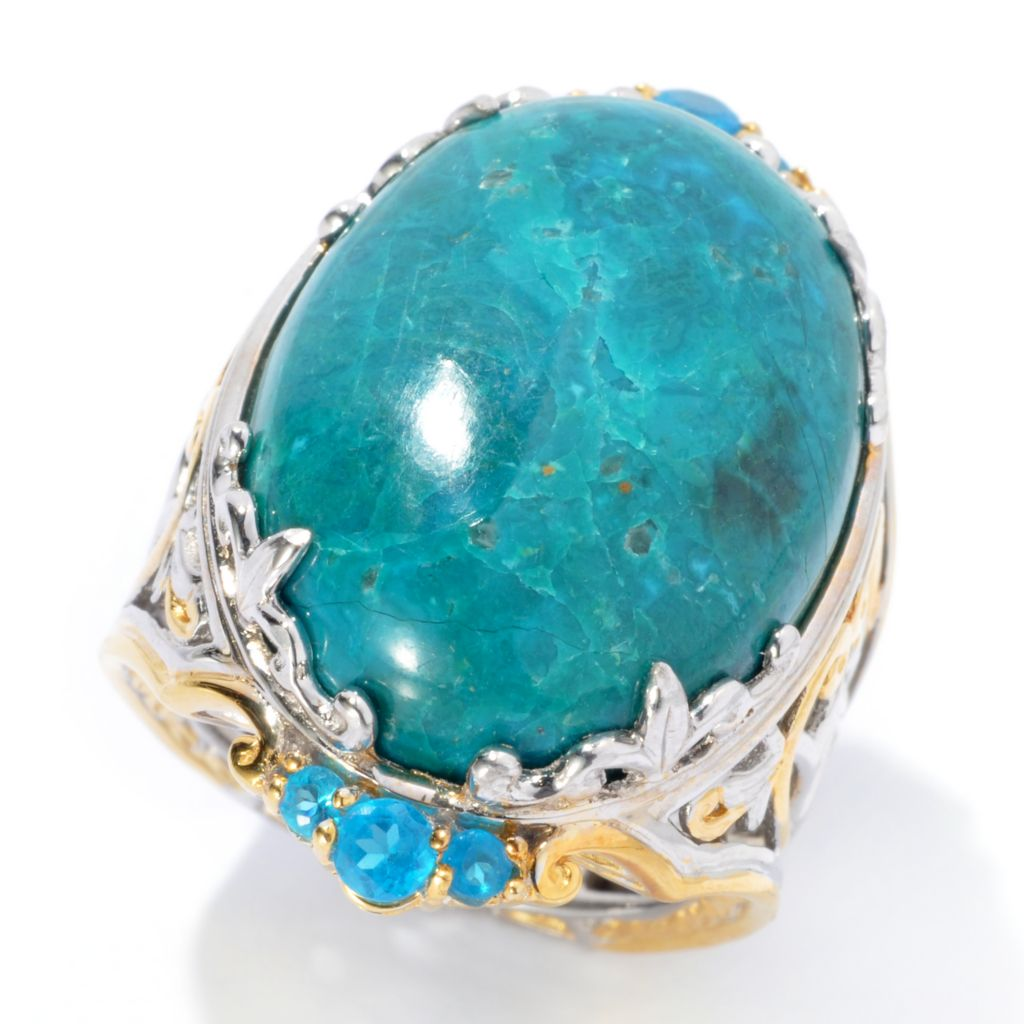 134-289 - Gems en Vogue II 25 x 18mm Oval Chrysocolla & Neon Blue Apatite Ring