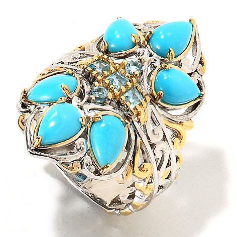134-290 - Gems en Vogue II Pear Shaped Sleeping Beauty Turquoise & Swiss Blue Topaz Ring