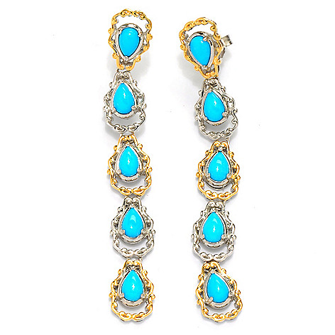 134-291 - Gems en Vogue II 2.5'' 6 x 4mm Sleeping Beauty Turquoise Drop Earrings