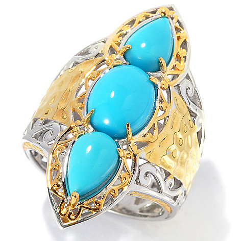 134-292 - Gems en Vogue 9 x 7mm Sleeping Beauty Turquoise Three-Stone Martellato Ring