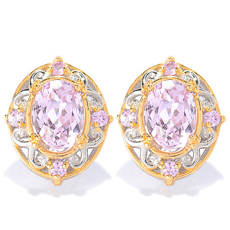 134-297 - Gems en Vogue 1.96ctw Kunzite & Pink Sapphire Stud Earrings