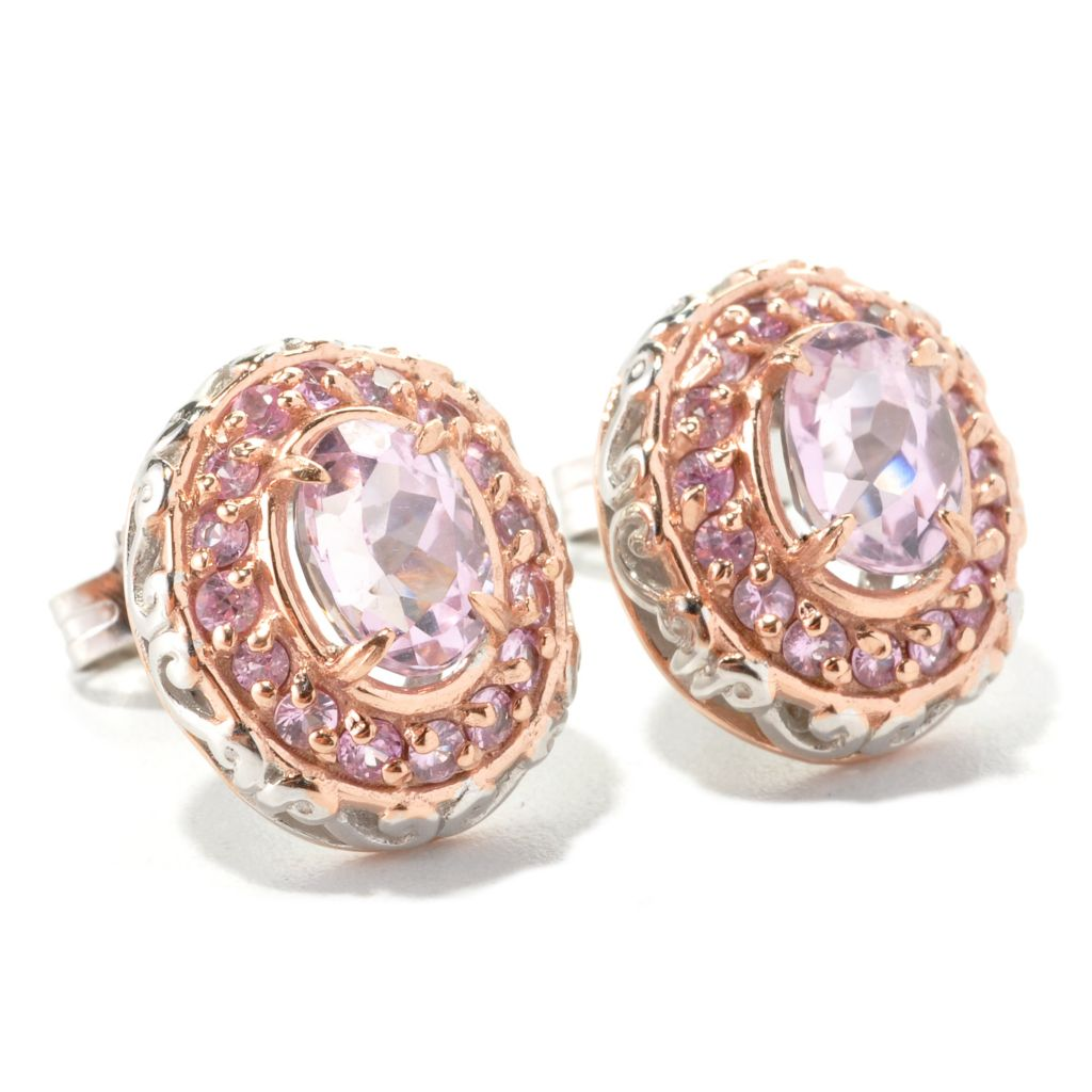 134-298 - Gems en Vogue II 2.62ctw Kunzite & Pink Sapphire Halo Stud Earrings