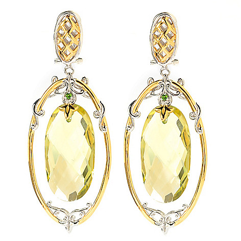 134-301 - Gems en Vogue II 21.74ctw Ouro Verde & Chrome Diopside Earrings w/ Omega Backs