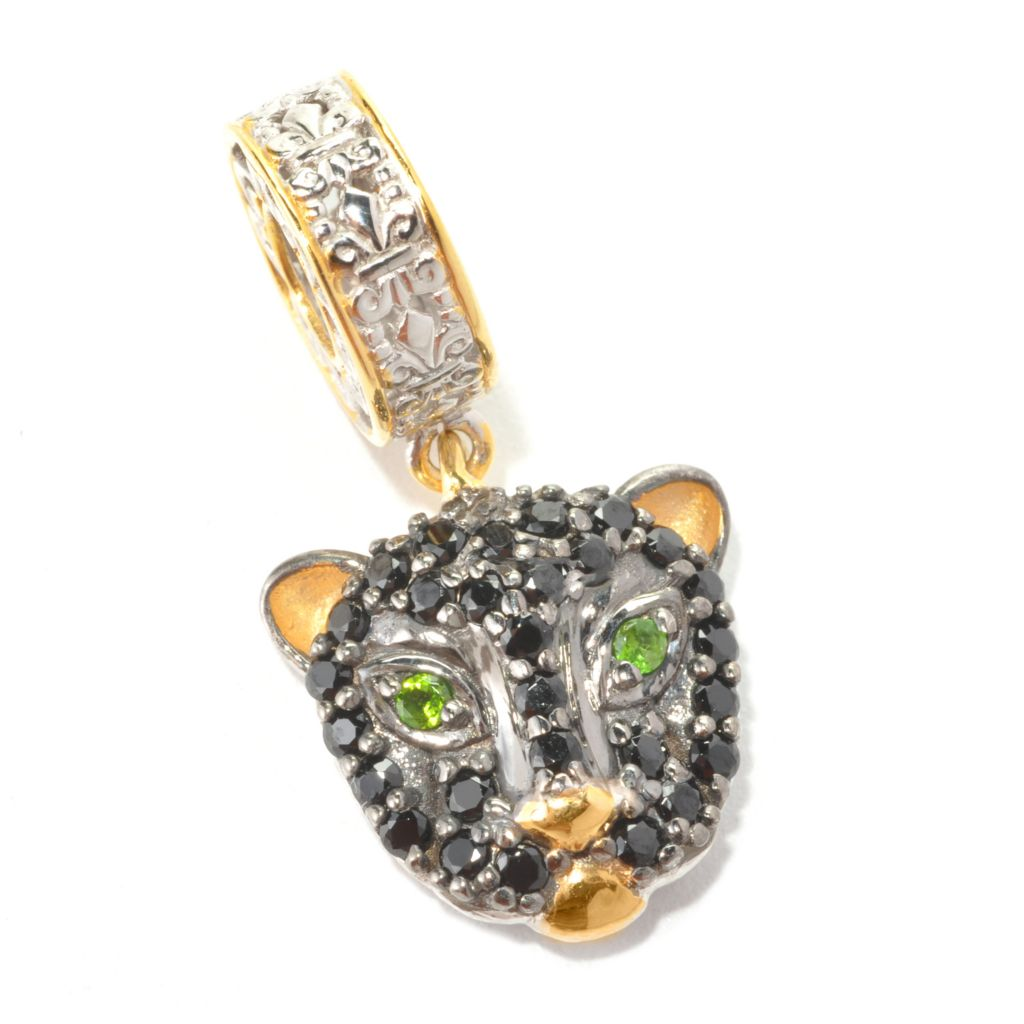 134-303 - Gems en Vogue II Black Spinel & Chrome Diopside Panther Drop Charm