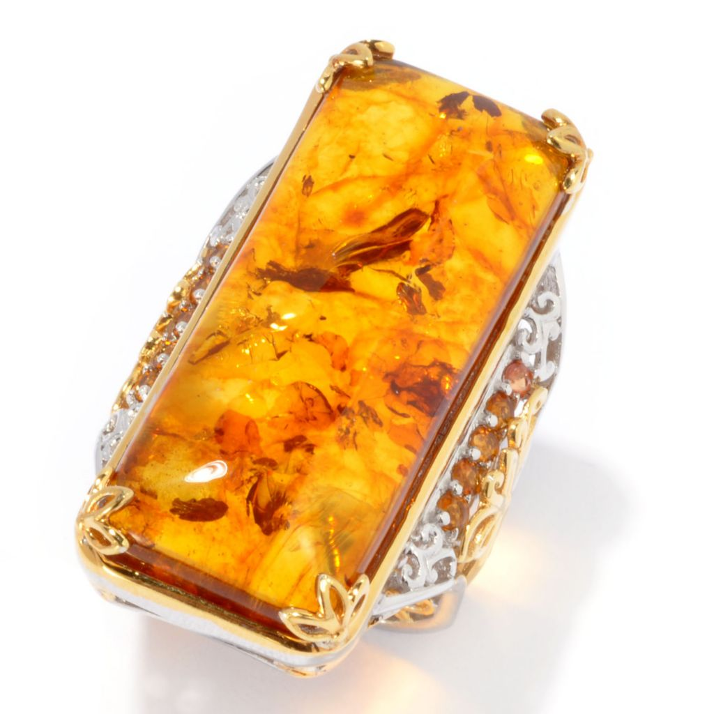 134-304 - Gems en Vogue 35 x 14mm Amber & Madeira Citrine Elongated Ring