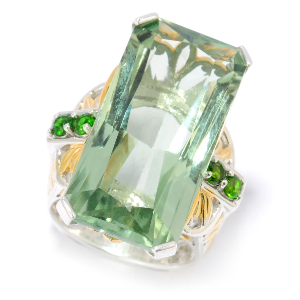 134-305 - Gems en Vogue II 28.03ctw Prasiolite & Chrome Diopside Elongated Ring