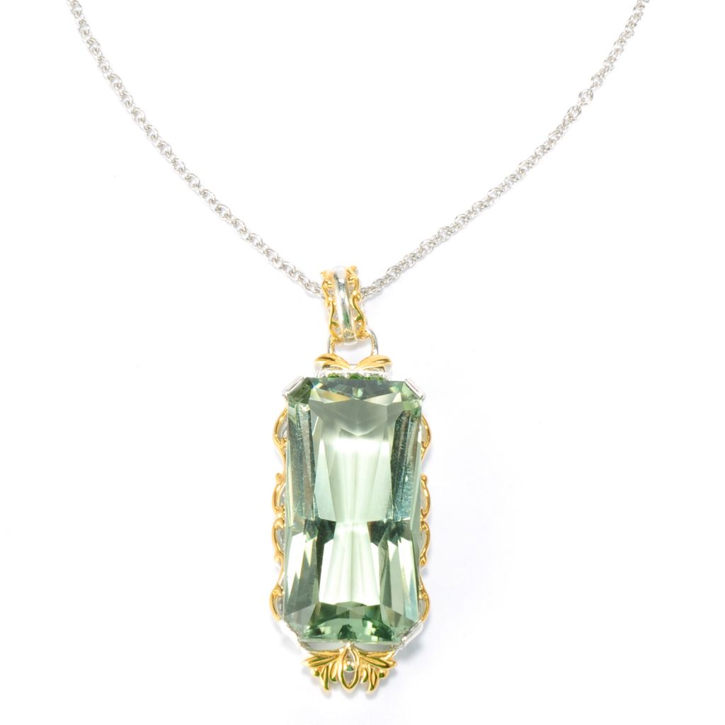 134-306 - Gems en Vogue II 27.67ctw Prasiolite & Chrome Diopside Elongated Pendant w/ Chain