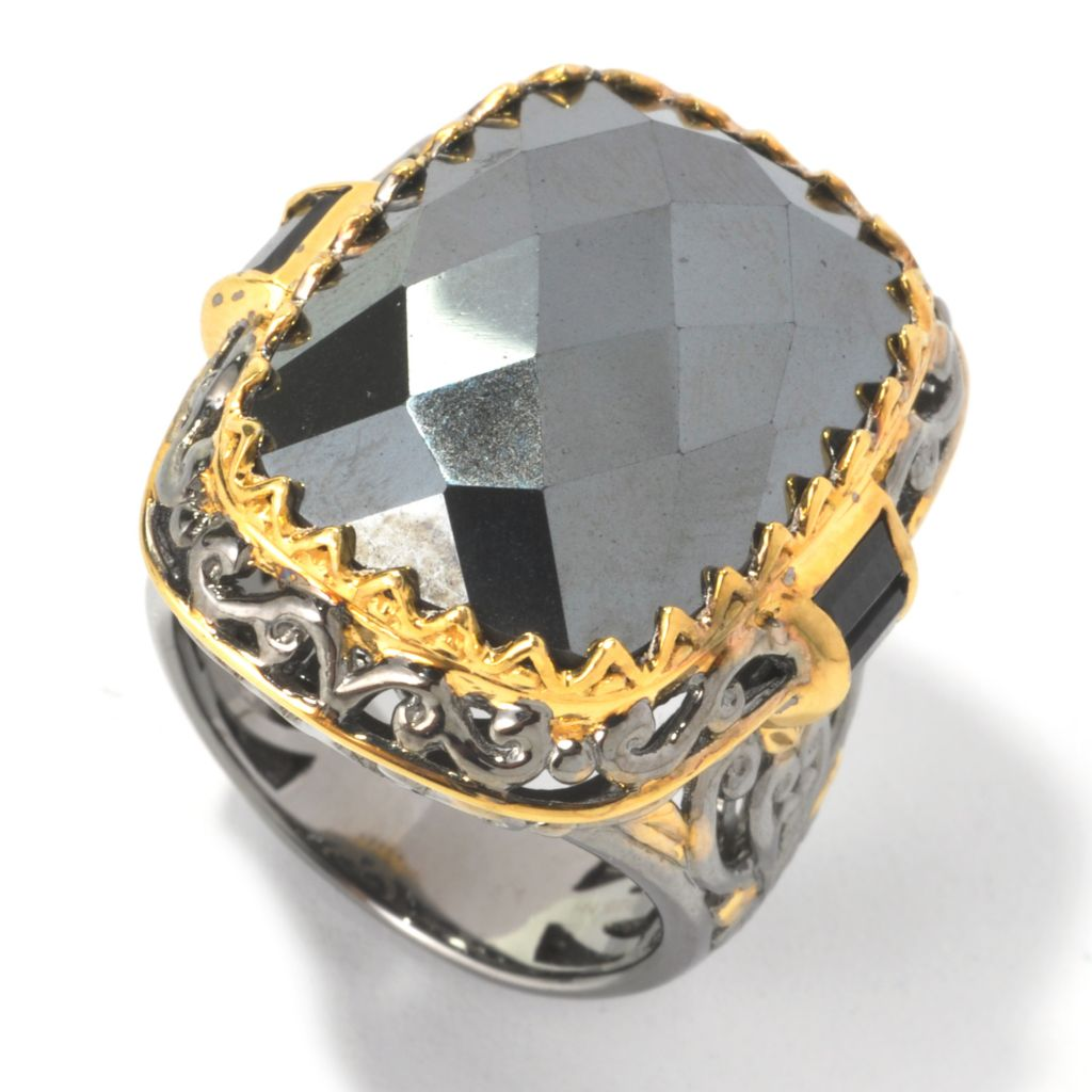 134-307 - Gems en Vogue II 20 x 15mm Checkerboard Cut Hematite & Black Spinel Ring