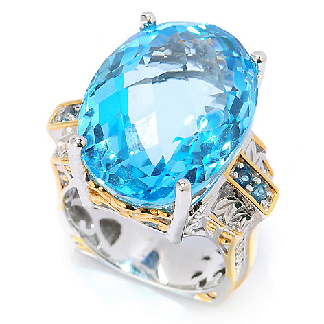 134-308 - Gems en Vogue II 30.96ctw Oval Swiss Blue Topaz & London Blue Topaz Ring