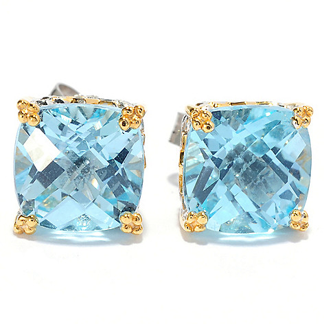 134-309 - Gems en Vogue Checkerboard Cut Gemstone Stud Earrings