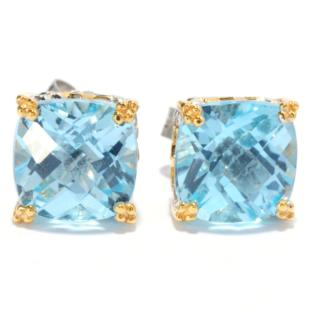 134-309 - Gems en Vogue II Checkerboard Cut Gemstone Stud Earrings