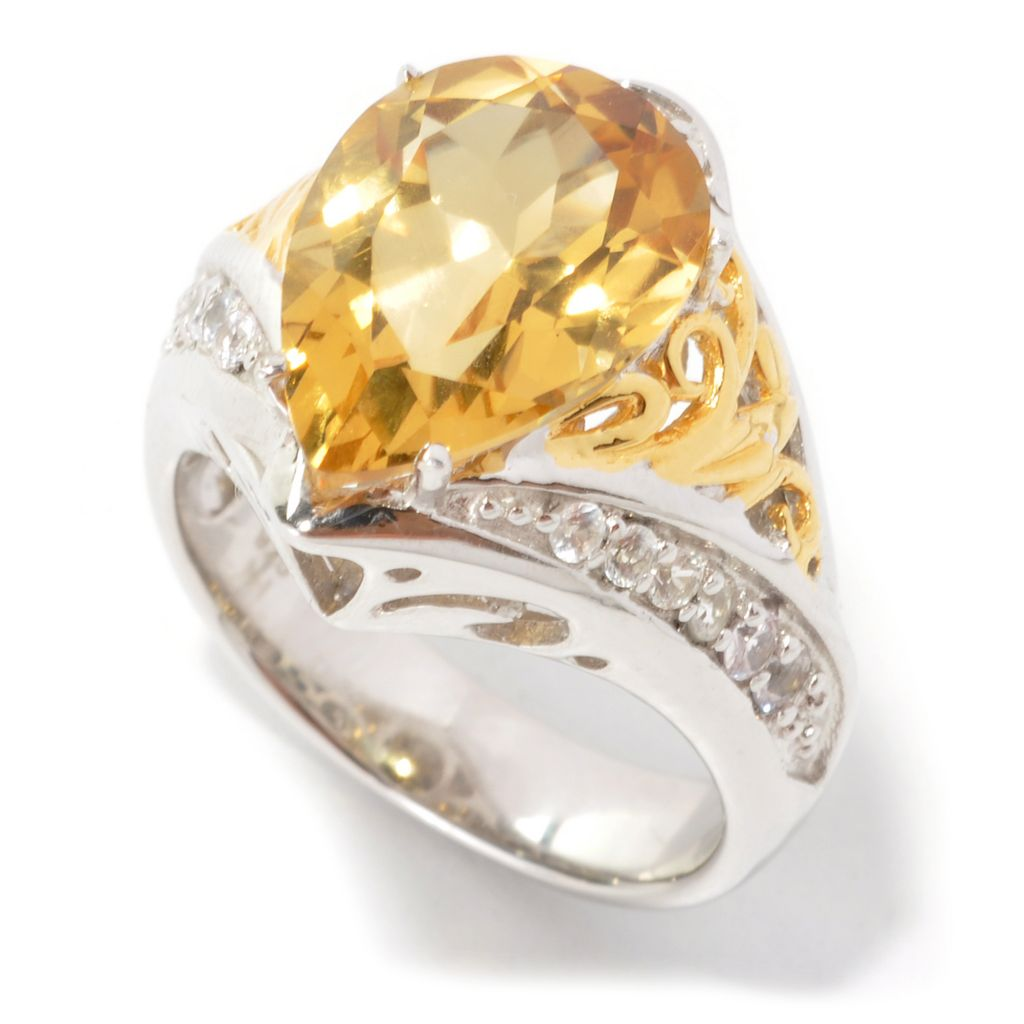 134-312 - Gems en Vogue II 5.37ctw Pear Shaped Beryl & White Sapphire Ring