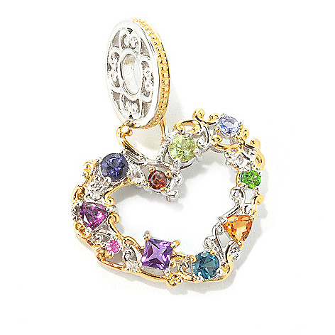 134-313 - Gems en Vogue II Multi Gemstone ''Carnaval'' Heart Drop Charm