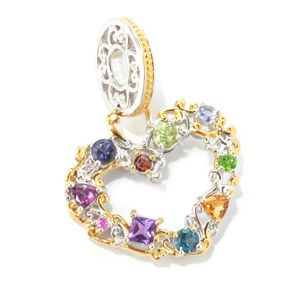 "134-313 - Gems en Vogue II Multi Gemstone ""Carnaval"" Heart Drop Charm"