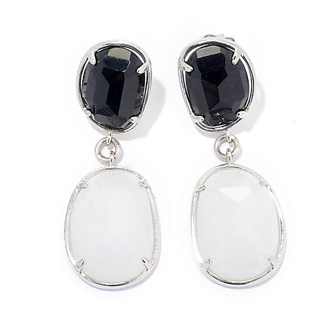134-319 - Sterling Silver 1.5'' Black & White Jade Double Freeform Drop Earrings