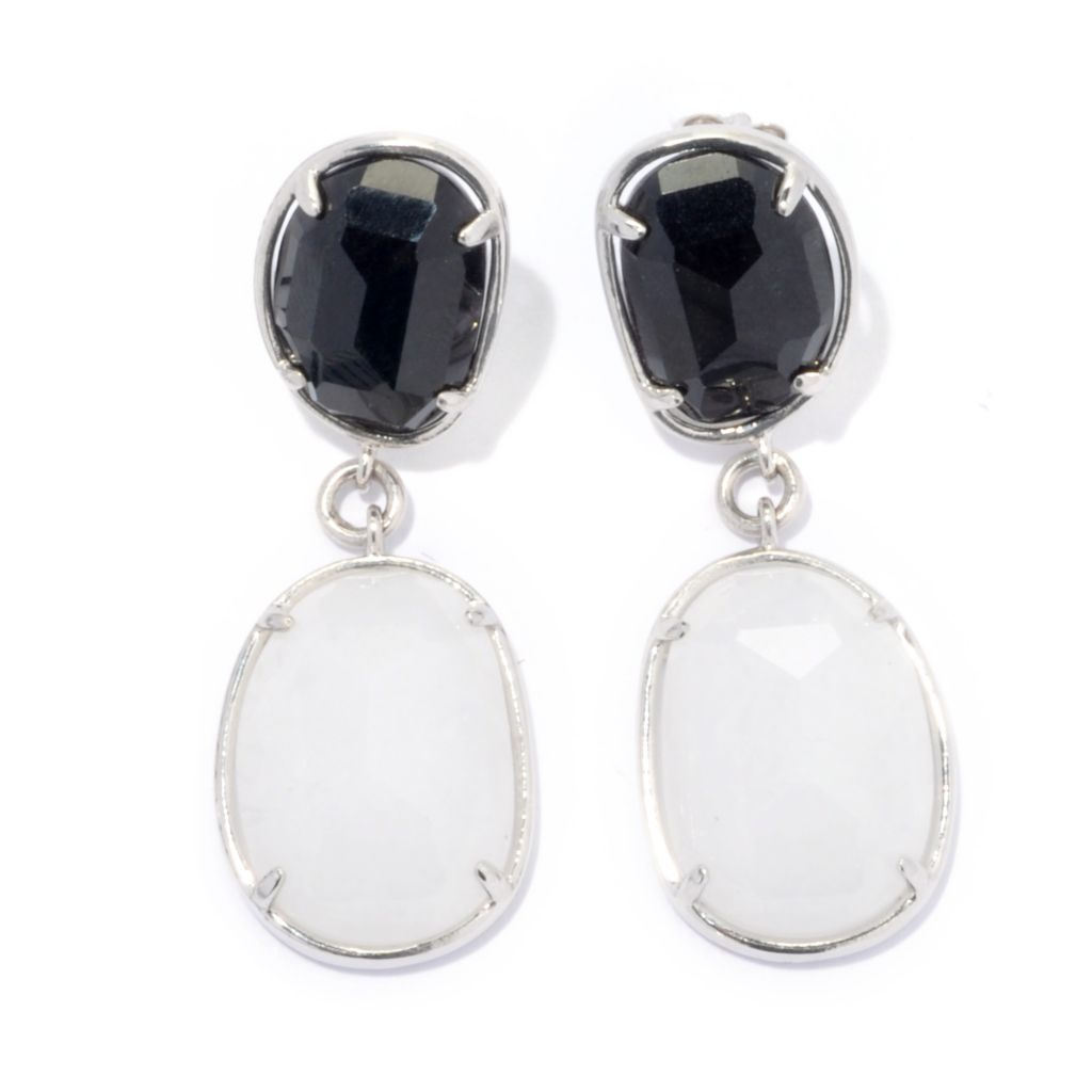 "134-319 - Sterling Silver 1.5"" Black & White Jade Double Freeform Drop Earrings"