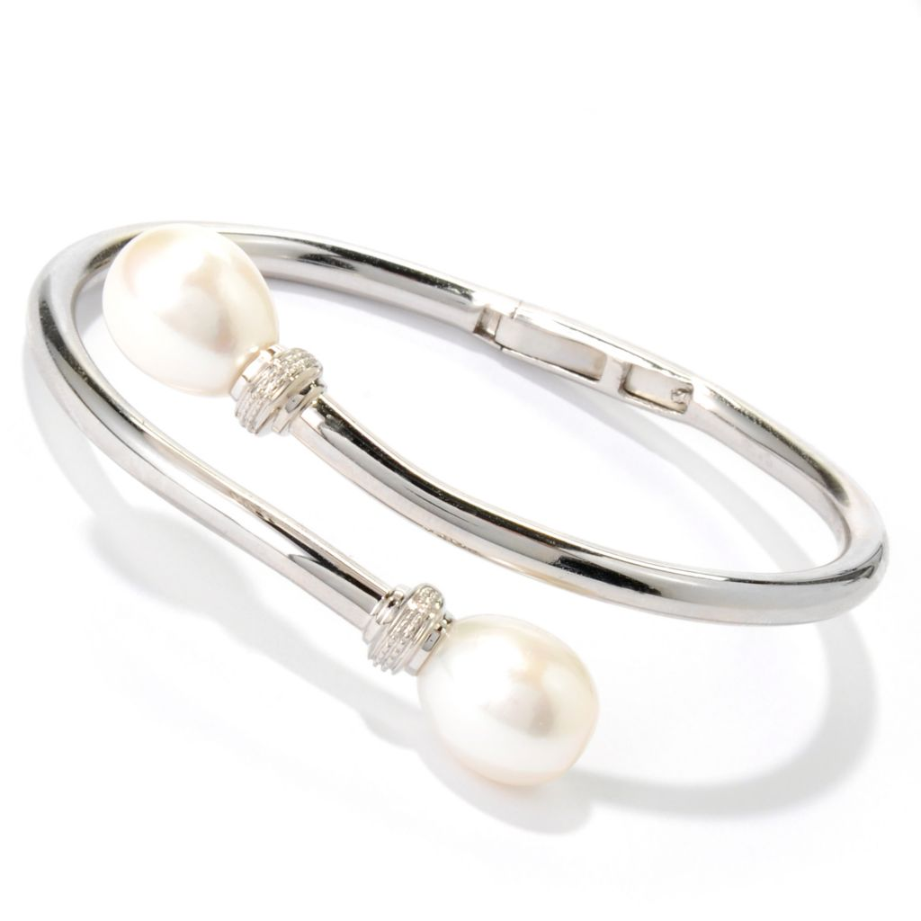 "134-320 - Sterling Silver 7"" 11-12mm White Freshwater Cultured Pearl Bangle Bracelet"