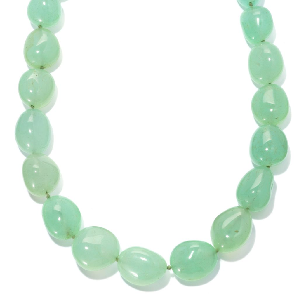 "134-324 - Gem Insider Sterling Silver 22"" Green Chalcedony Nugget Bead Necklace"