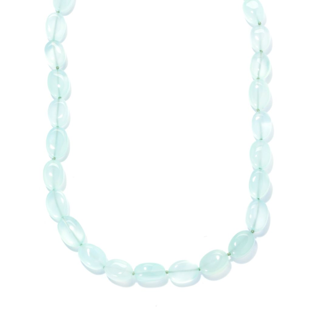 "134-325 - Gem Insider Sterling Silver 36"" Blue Chalcedony Bead Necklace"