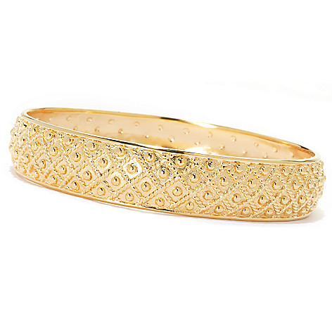 134-329 - Jaipur Bazaar Gold Embraced™ 8'' Textured & Beaded Slip-on Bangle Bracelet