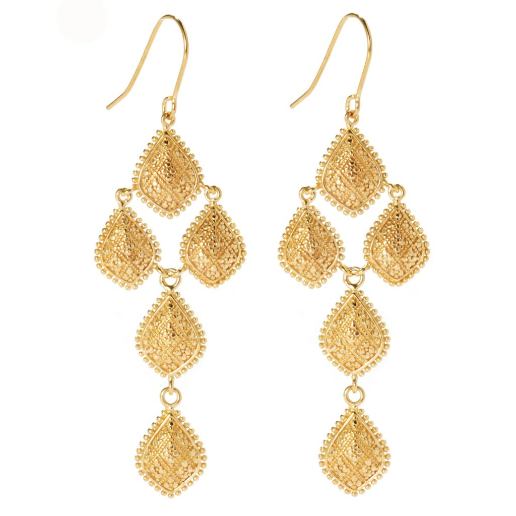 "134-331 - Jaipur Bazaar Gold Embraced™ 2.75"" Textured & Beaded Chandelier Earrings"