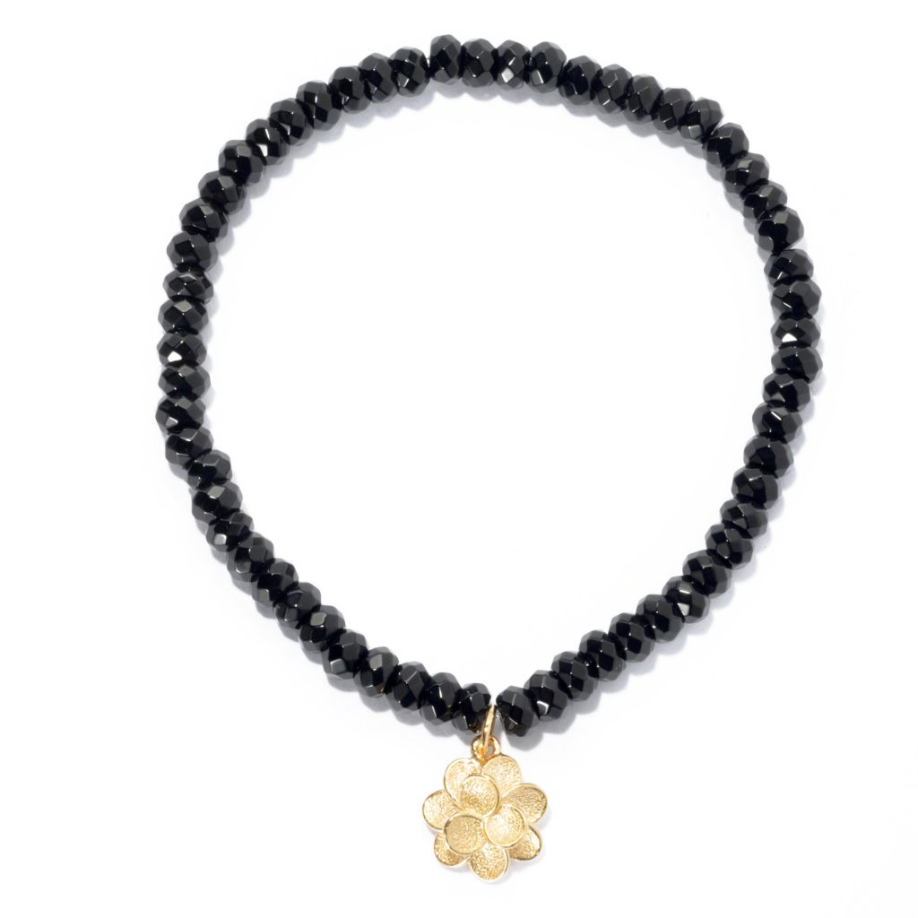 134-336 - Jaipur Bazaar 18K Gold Embraced™ Onyx Bead Stretch Bracelet w/ Textured Charm