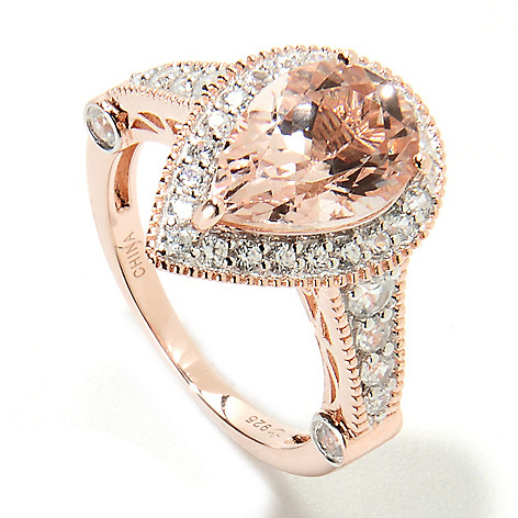 134-340 - NYC II 3.95ctw Pear Shaped Morganite & White Zircon Halo Ring