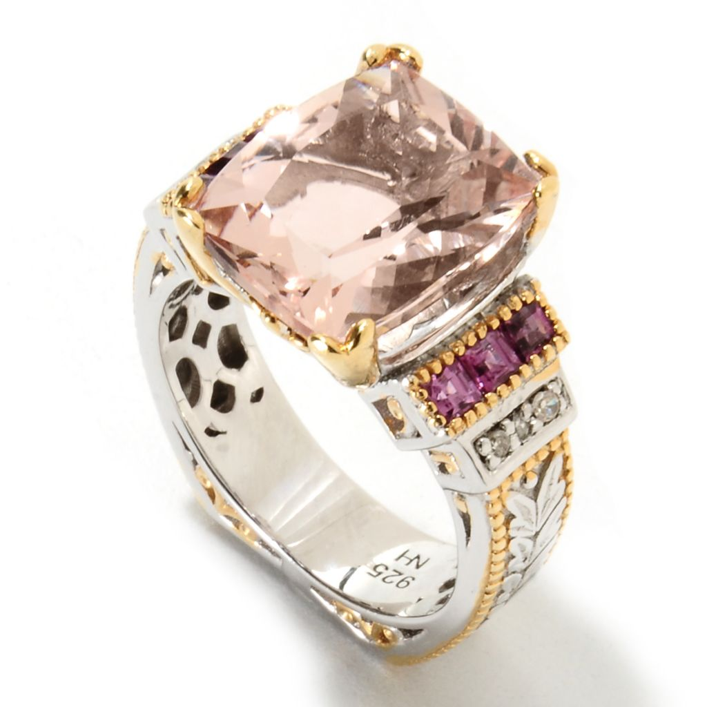 134-341 - Gems en Vogue II 5.21ctw Morganite, Rhodolite & Diamond Euro Shank Ring