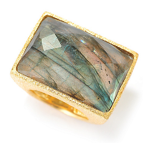 134-342 - Portofino 18K Gold Embraced™ 25 x 18mm Labradorite Textured Ring