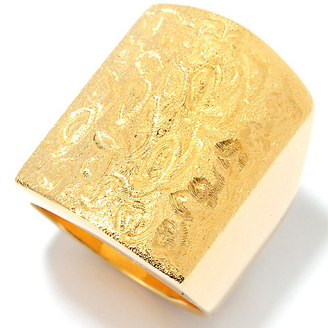 134-344 - Portofino Gold Embraced™ Polished & Brushed Swirl Elongated Ring