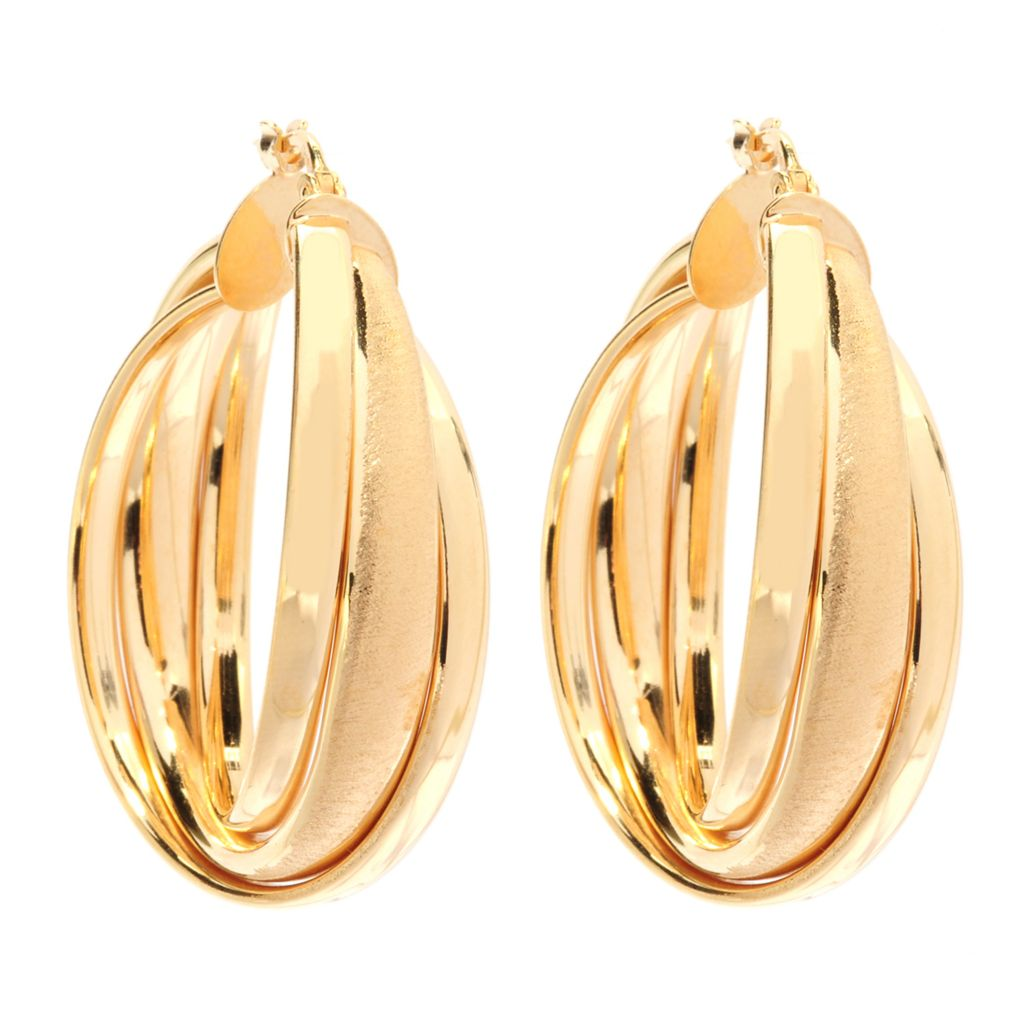 "134-347 - Portofino Gold Embraced™ 1.5"" Polished & Satin Finished Tri-Hoop Earrings"