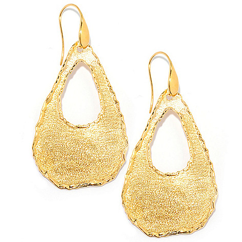 134-348 - Portofino Gold Embraced™ 2.5'' Scalloped Edge Cut-out Teardrop Earrings