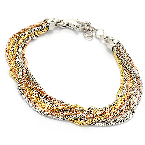 134-349 - Portofino Gold Embraced™ 7.5'' Eight-Strand Diamond Cut Coreana Bracelet