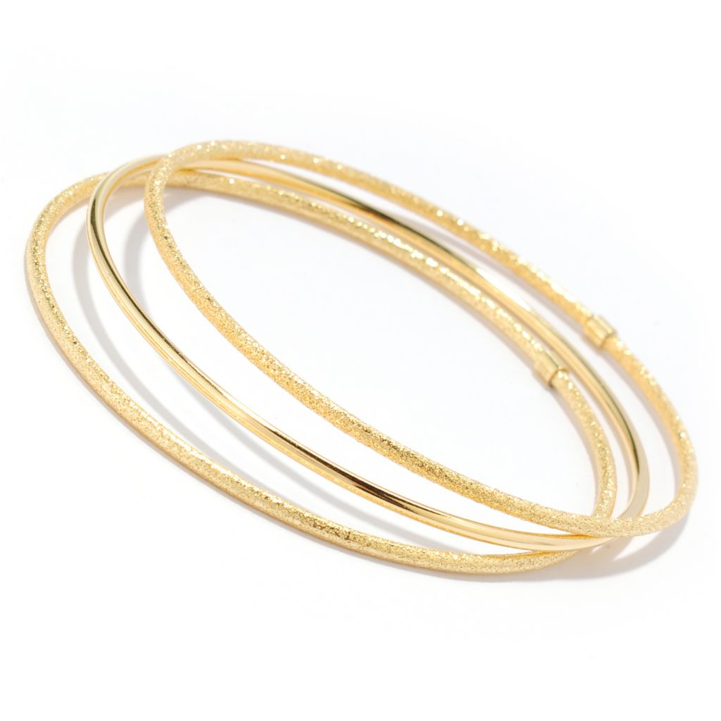 "134-350 - Portofino 18K Gold Embraced™ Set of Three 8"" Slip-on Bangle Bracelets"