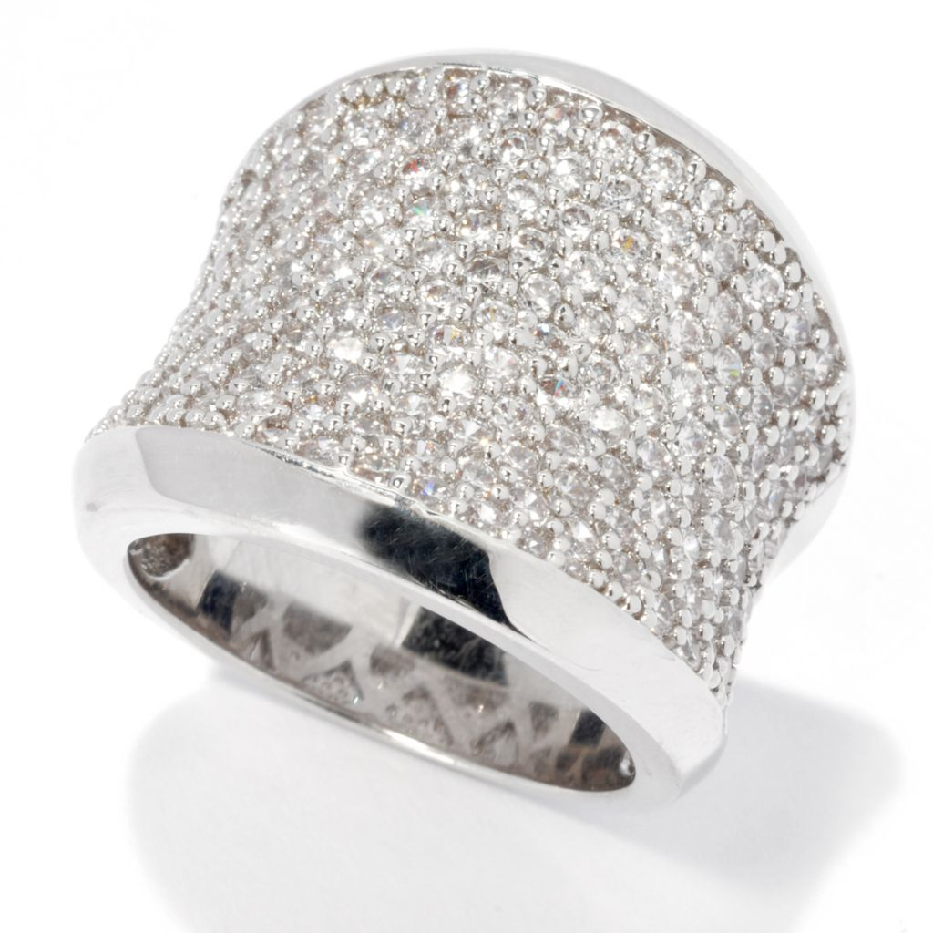 134-354 - Brilliante® 2.20 DEW Pave Set Simulated Diamond Wide Concave Band Ring