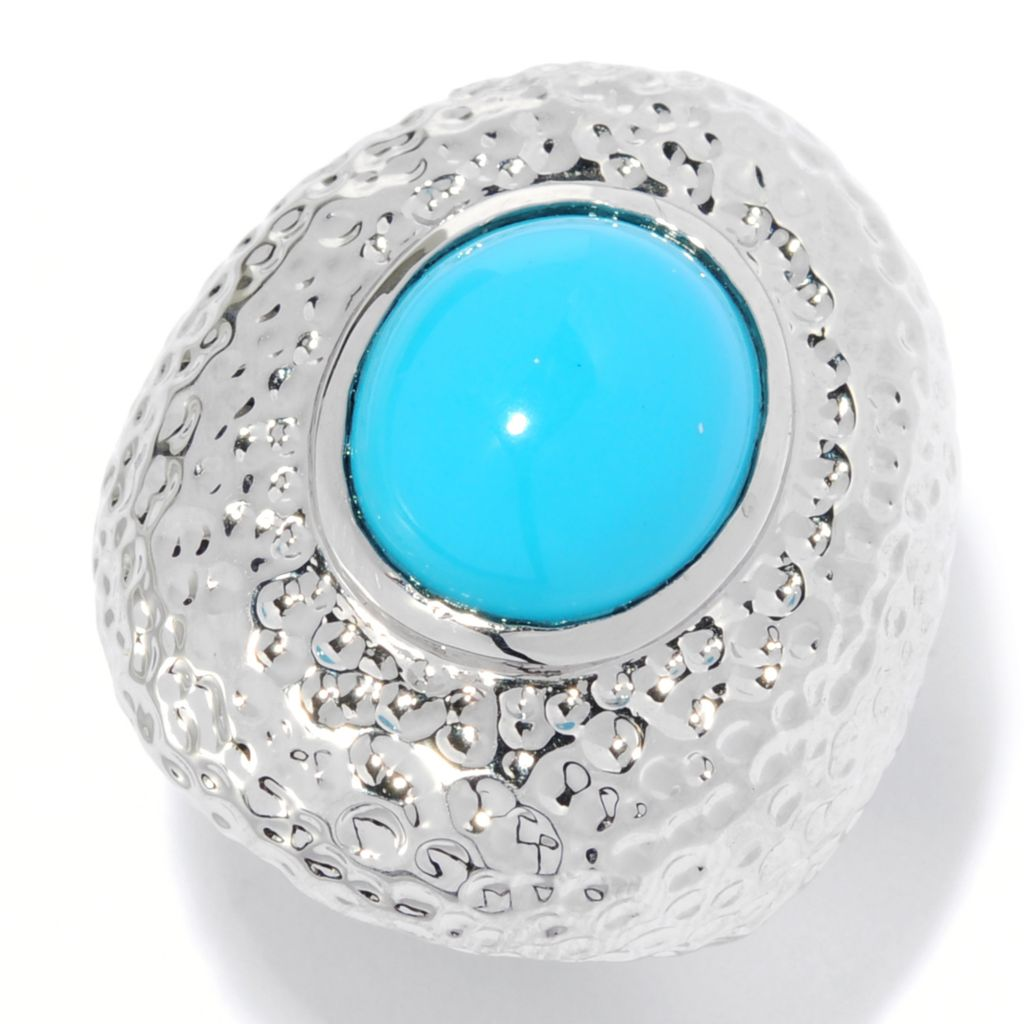 134-355 - Brilliante® 14 x 12mm Oval Simulated Turquoise Hammered Ring