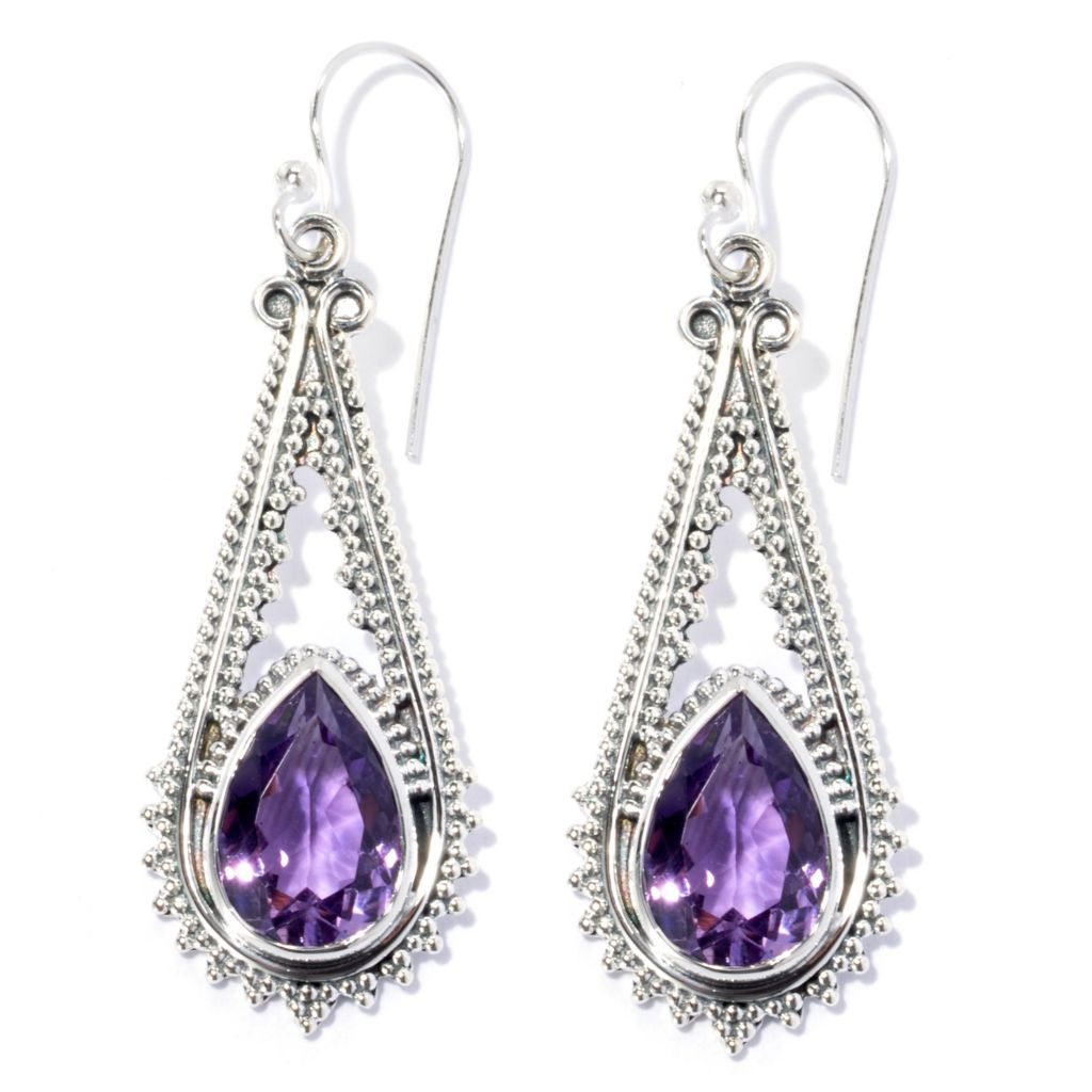 "134-357 - Artisan Silver by Samuel B. 1.75"" 12x8mm Pear Shaped Gemstone Textured Drop Earrings"