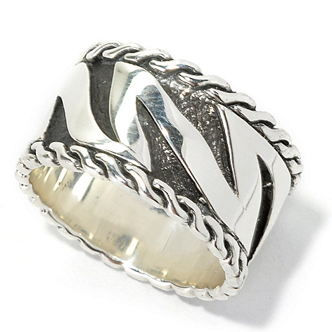 134-362 - Artisan Silver by Samuel B. Unisex Polished & Oxidized Tiger Print Ring