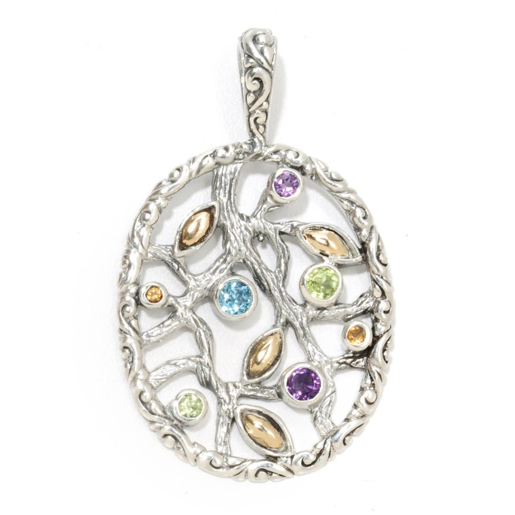 134-371 - Artisan Silver by Samuel B. 1.10ctw Multi Gem Textured Oval Nature Pendant