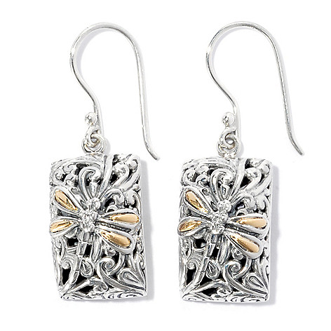 134-374 - Artisan Silver by Samuel B. Dragonfly & Swirl Open Work Drop Earrings
