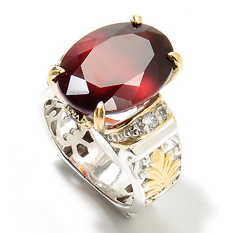 134-376 - Gems en Vogue 9.78ctw Oval Hessonite, Garnet & White Zircon Ring
