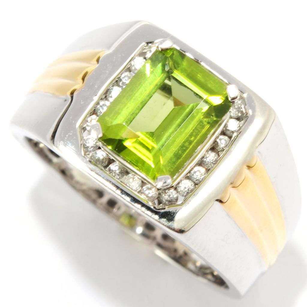 134-377 - Gem Insider Men's Two-tone 2.58ctw Peridot & White Zircon Halo Ring