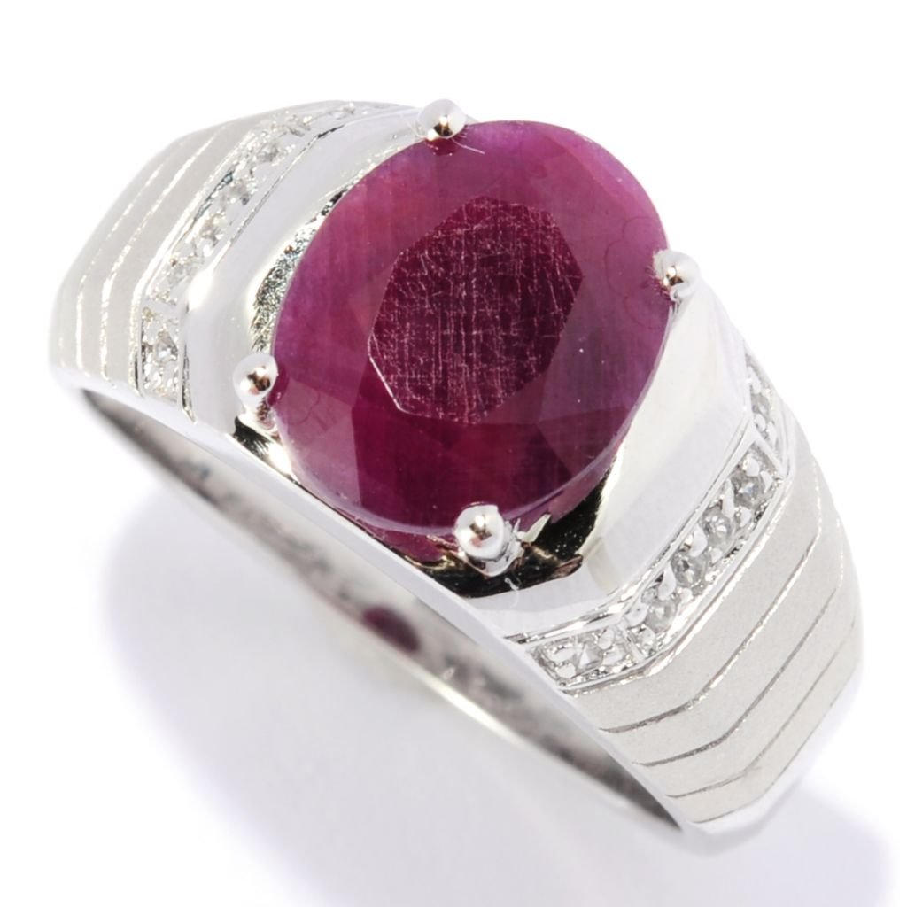134-378 - Gem Insider Men's Sterling Silver 11 x 9mm Oval Opaque Ruby & White Zircon Ring