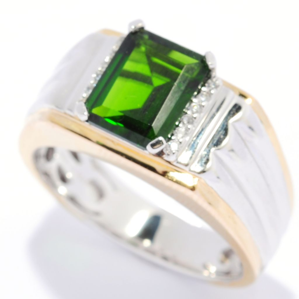 134-380 - Gem Insider Men's Two-tone 2.16ctw Chrome Diopside & White Zircon Grooved Shank Ring