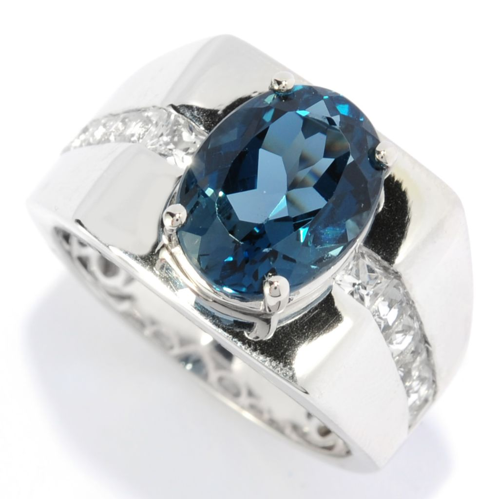 134-381 - Gem Insider Men's Sterling Silver 6.10ctw Oval London Blue Topaz & White Topaz Ring