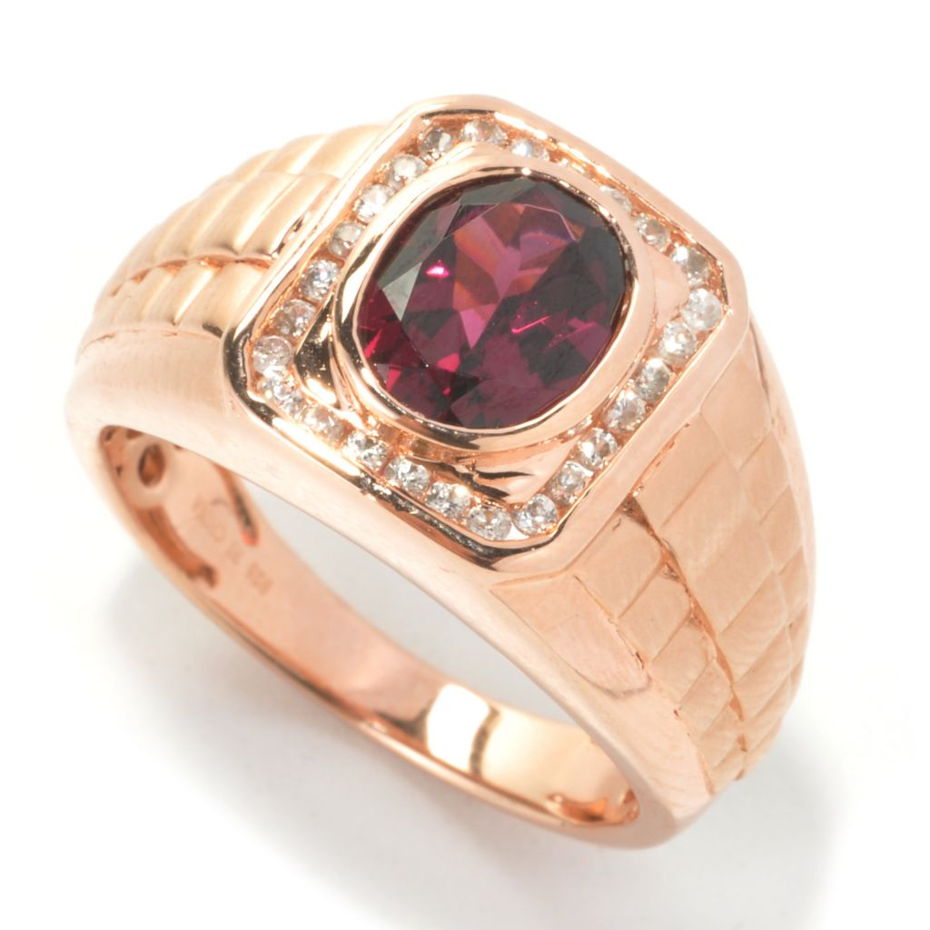 134-382 - Gem Insider Men's 2.53ctw Rhodolite Garnet & White Zircon Multi Step Ring