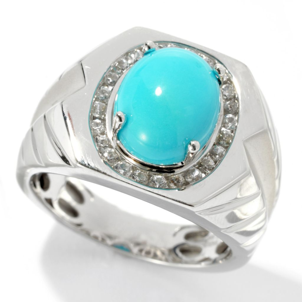 134-383 - Gem Insider Men's Sterling Silver 11 x 9mm Turquoise & White Zircon Halo Ring